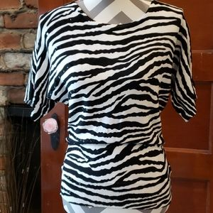 Joseph A. Zebra Print Short Sleeve Sweater NWT Sma